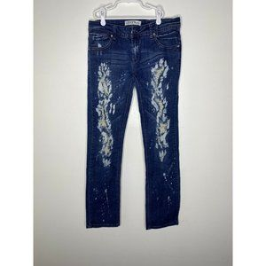 Liuces Womens 11 Dark Wash Mid Rise Distressed Ank
